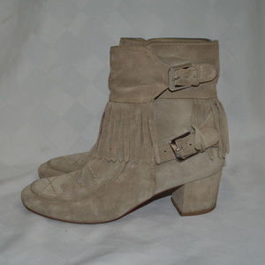 Sz 38 7.5 Laurence Dacade Gray Fringe Ankle Boots